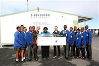 Fives Futbol, Rabie Property Group hand over cheque to Sinenjongo High School